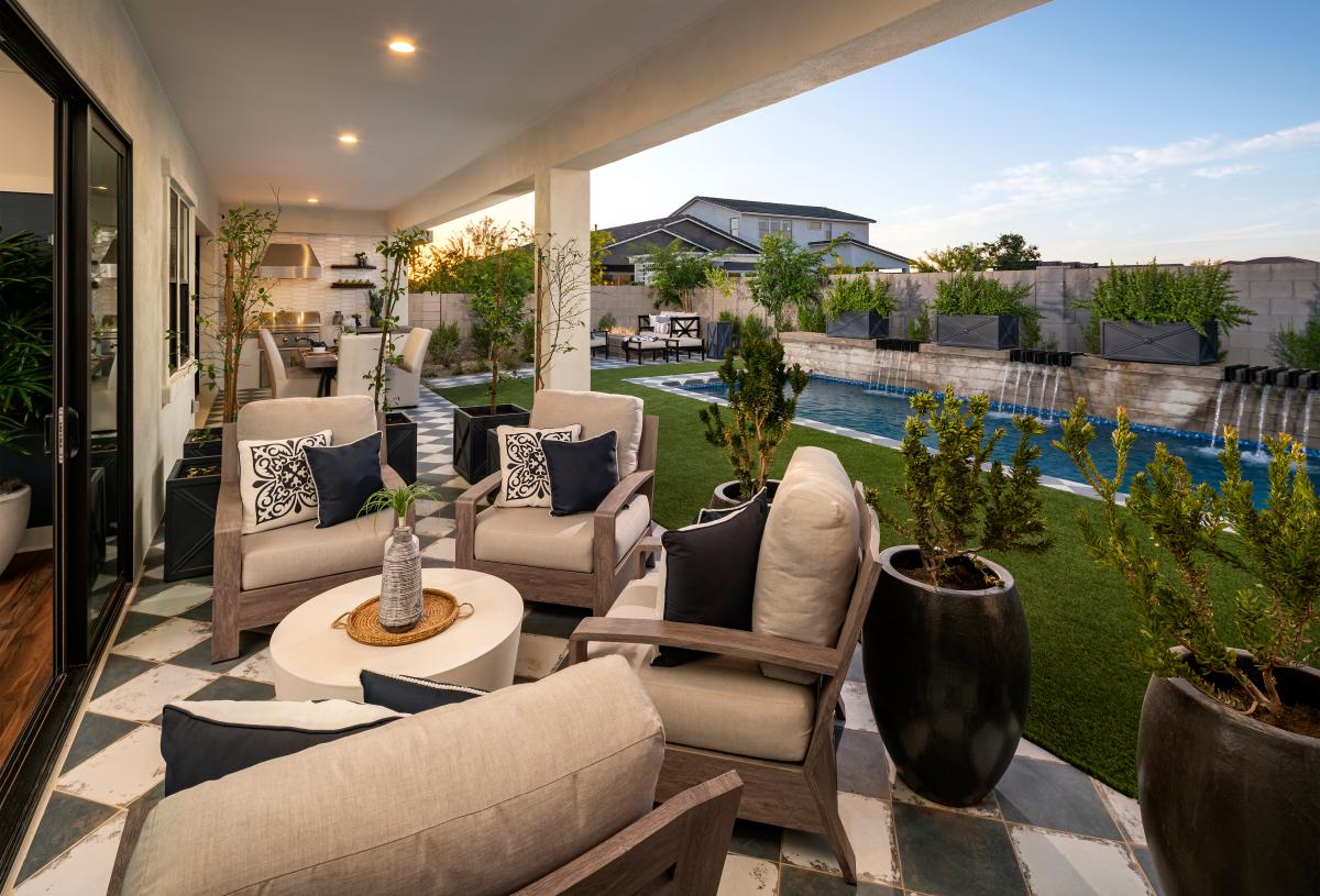 Extended covered patio with outdoor seating