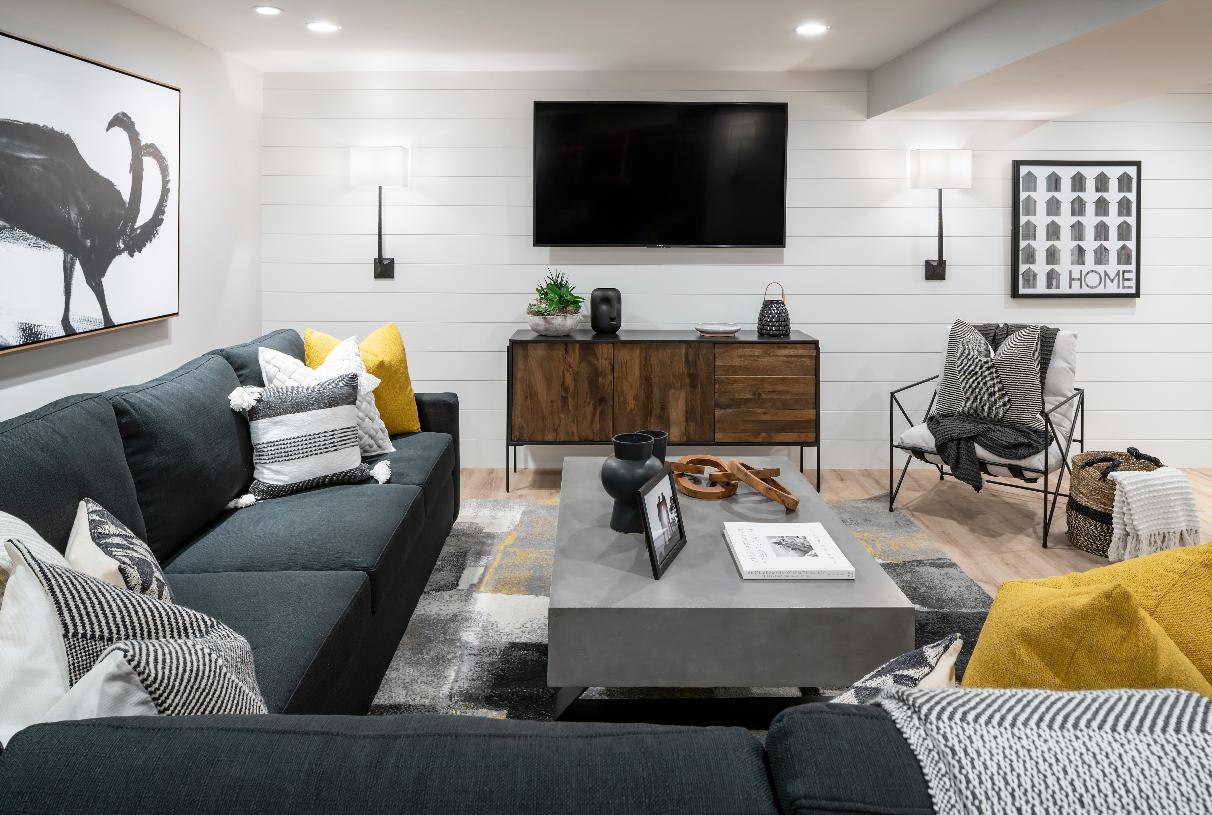 Finished basement for secondary entertainment space