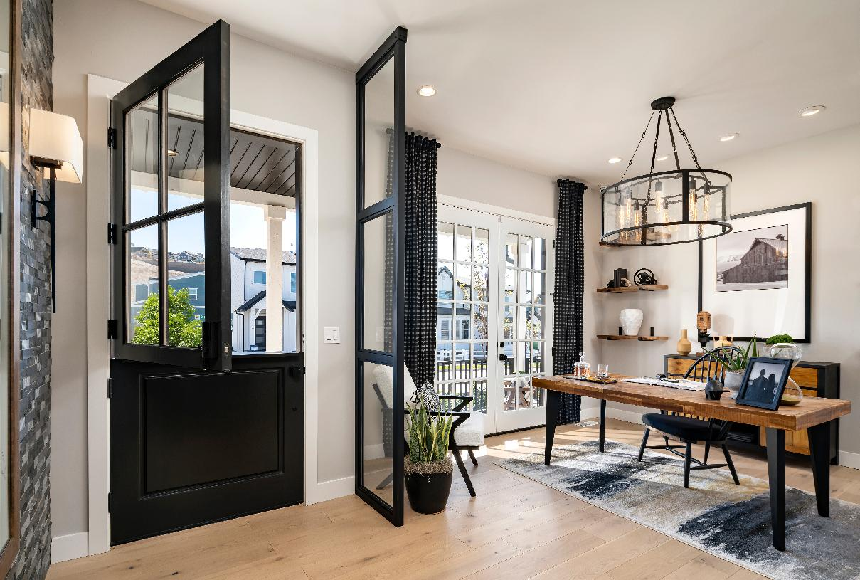 Spacious foyer with versatile home office