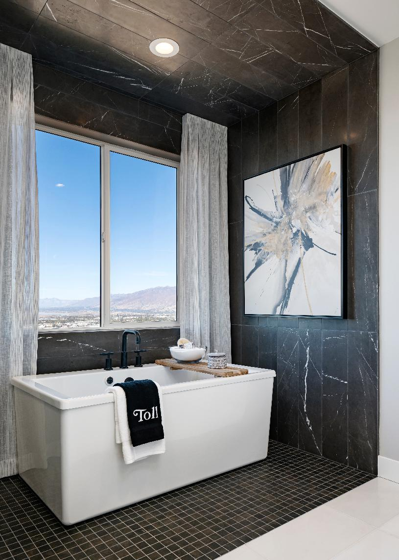 Primary bath with freestanding soaking tub