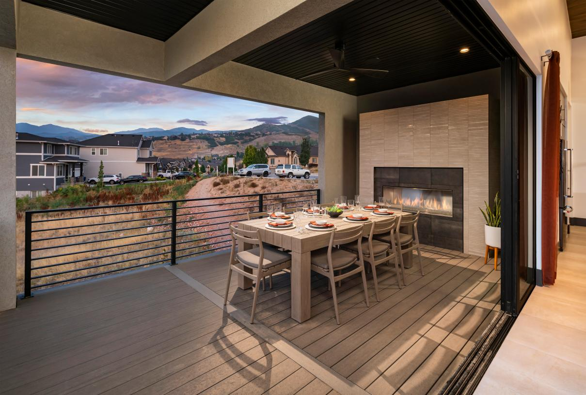 Covered deck for outdoor living, dining, and entertaining