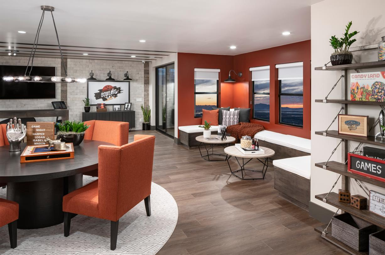 Finished basement with ample seating area for entertaining