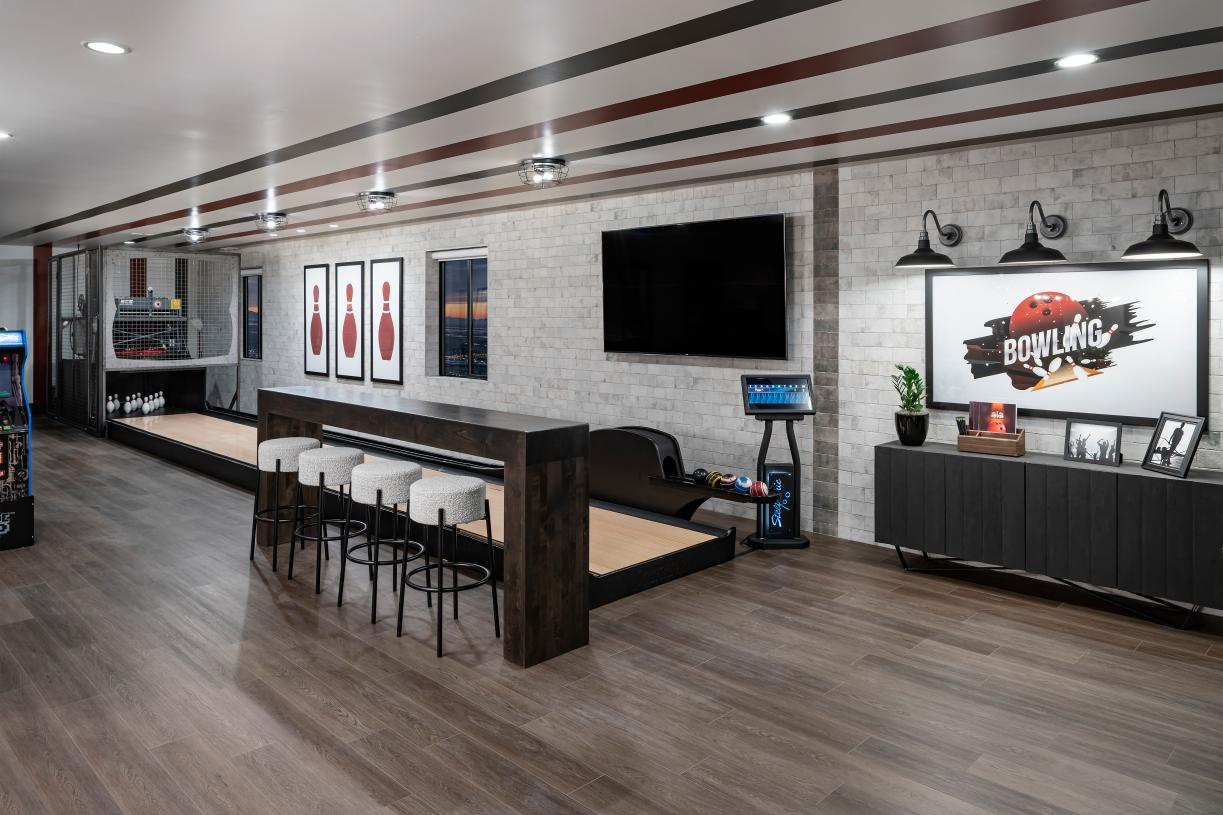 Finished basement with duckpin bowling