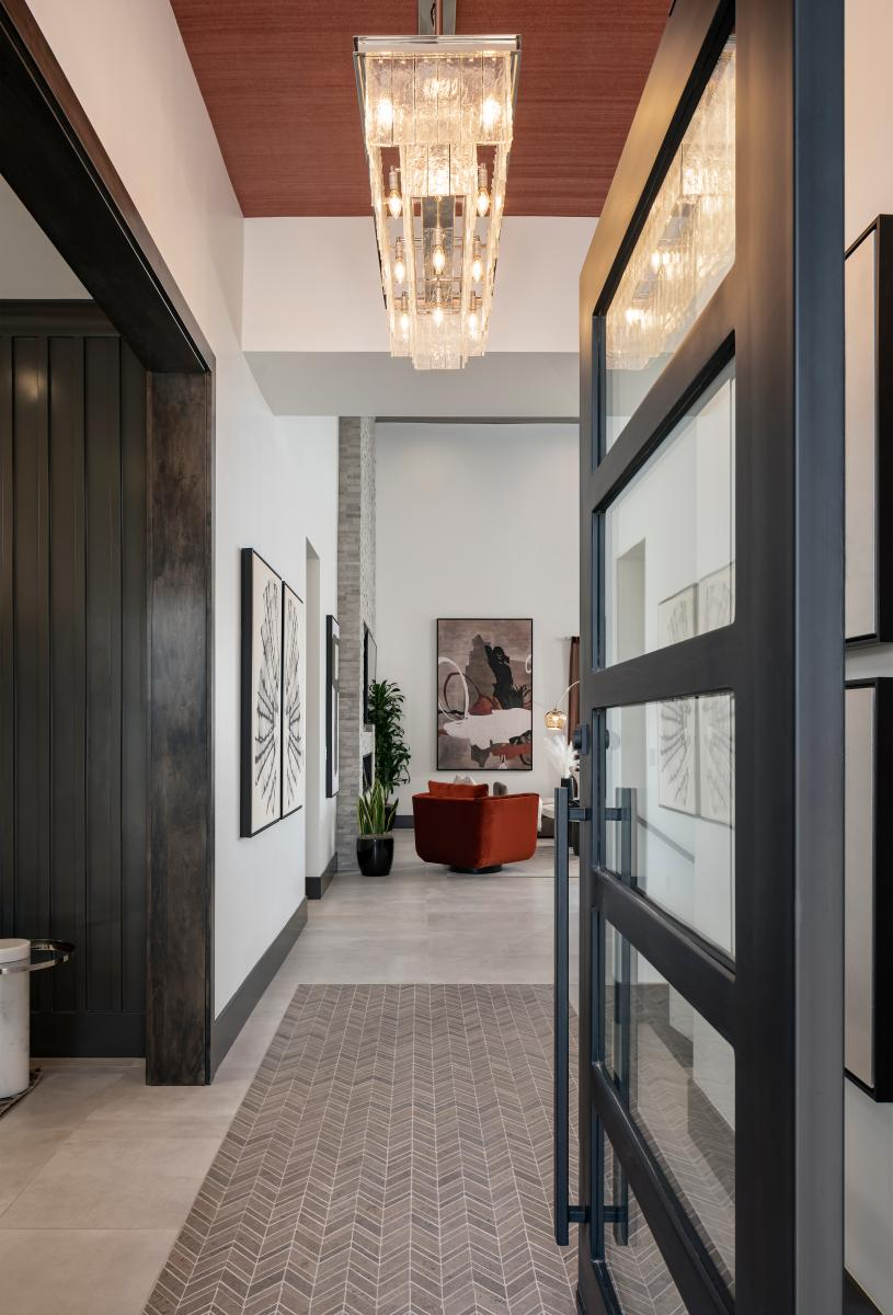 Welcoming foyer entry with views of the great room beyond