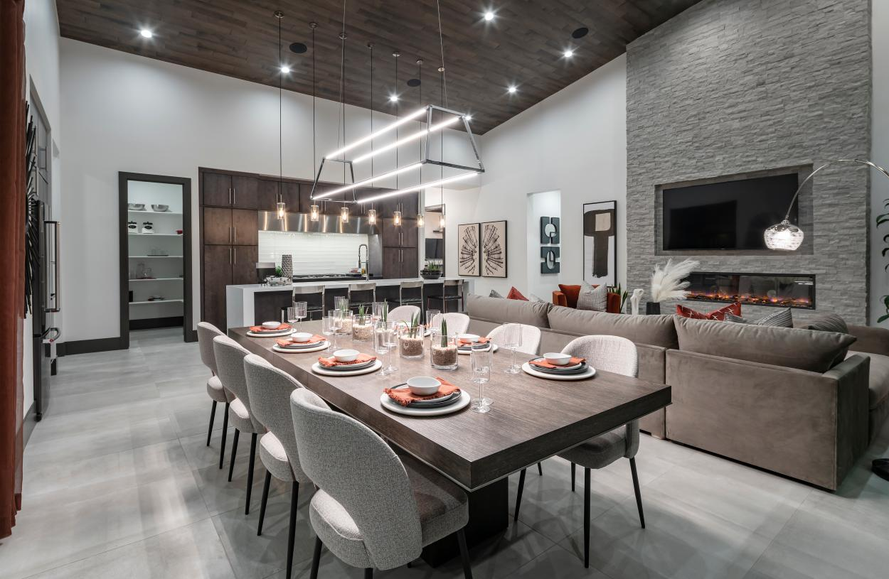 Casual dining space adjacent to the kitchen and great room ideal for entertaining