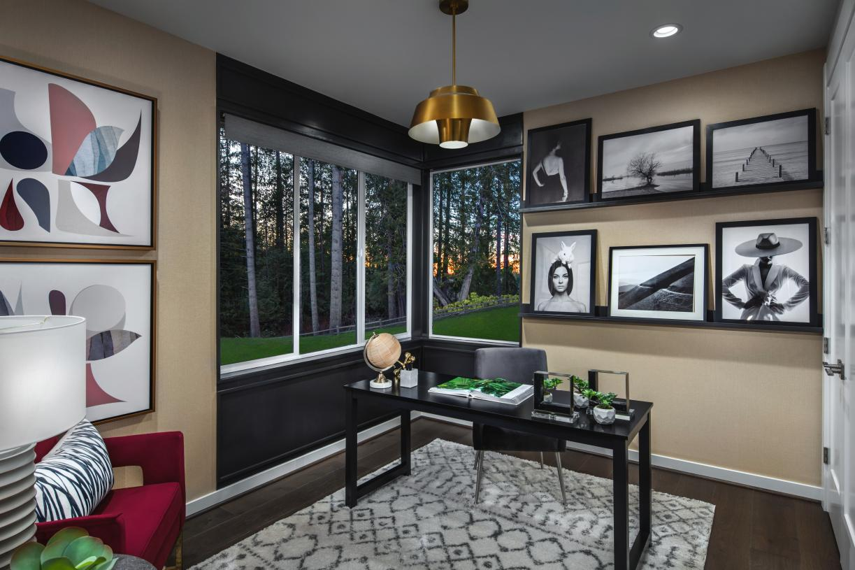First floor bedroom with bath is ideal for a home office
