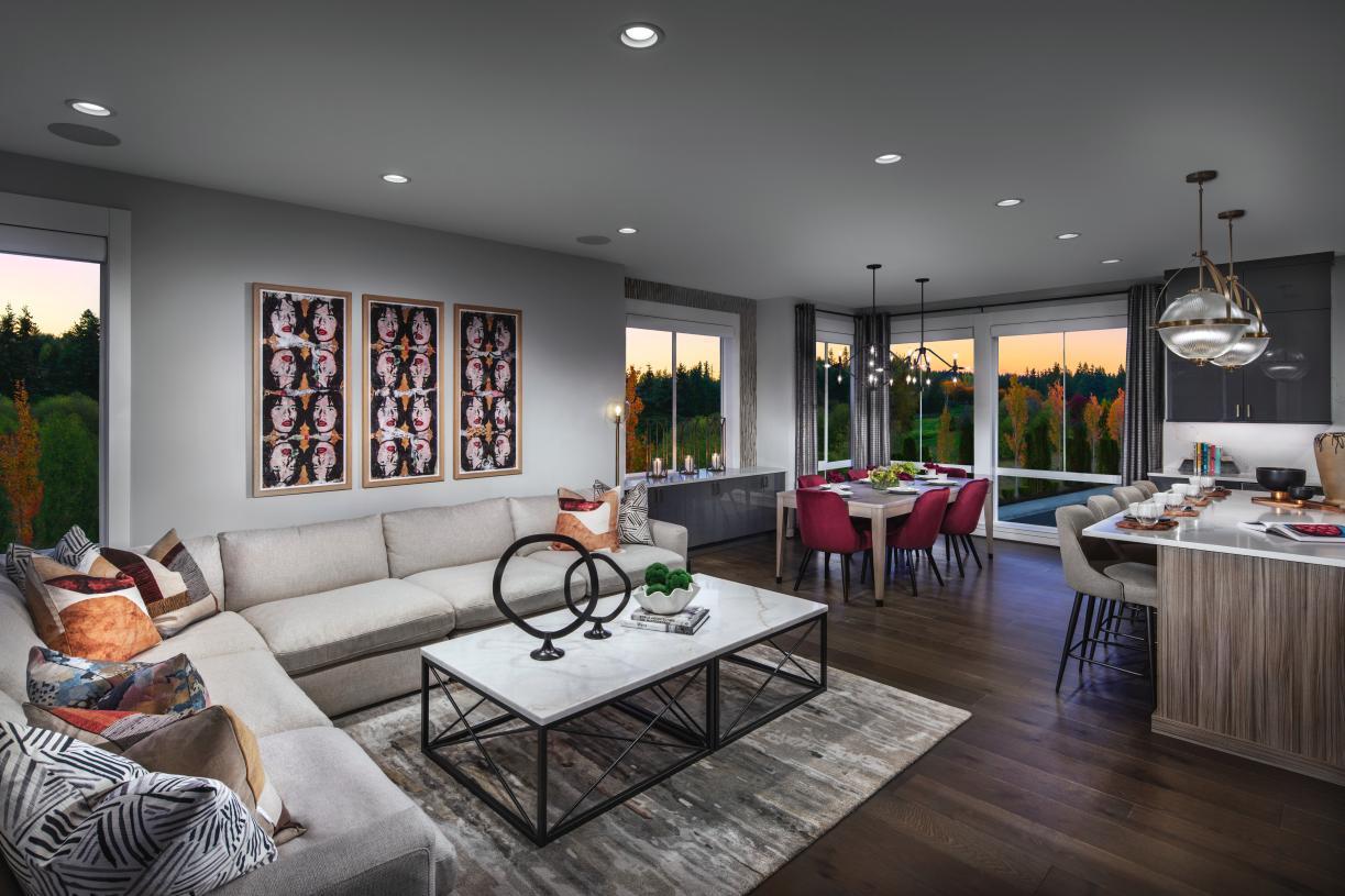 Open concept great room of the Montlake Elite