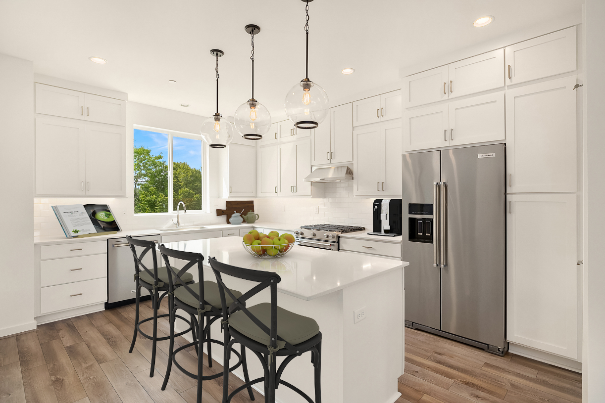 Kitchen island offers seating for 3