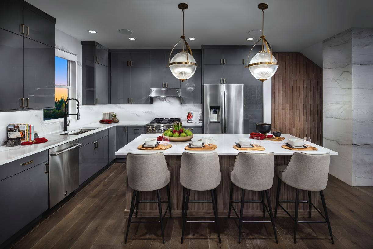 Well designed kitchen with center island with seating for four