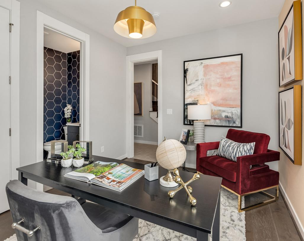 First-floor bedroom is ideal for a home office