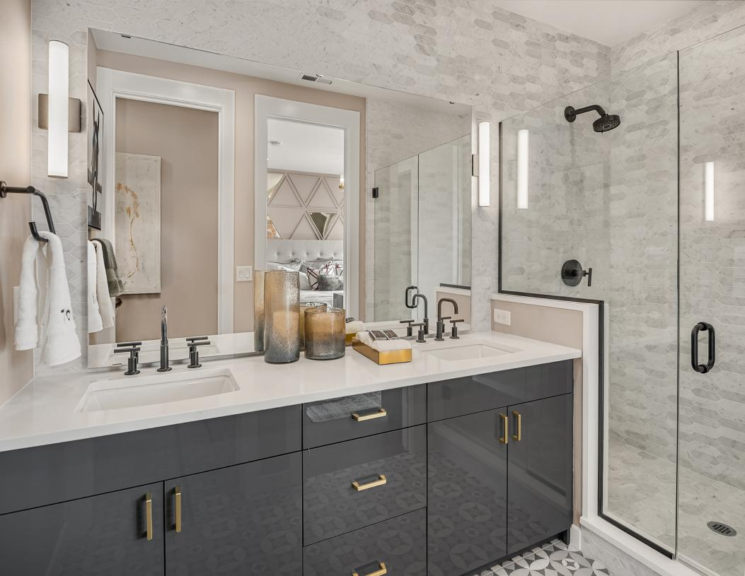 Luxe primary bath with dual sink vanity