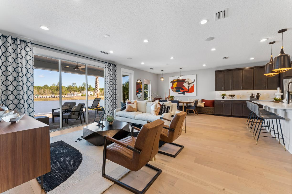Bring the outdoors in with wide sliding glass doors to the covered lanai