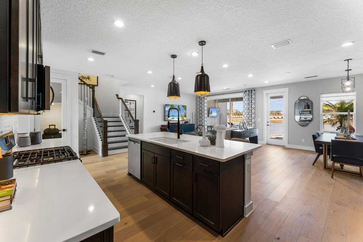 Open-living kitchen to great room and casual dining area