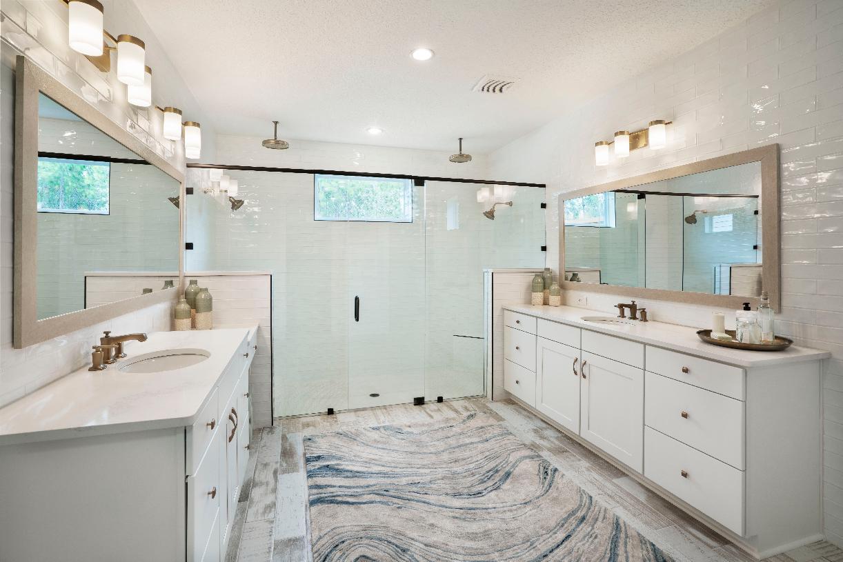 Roomy primary bathrooms