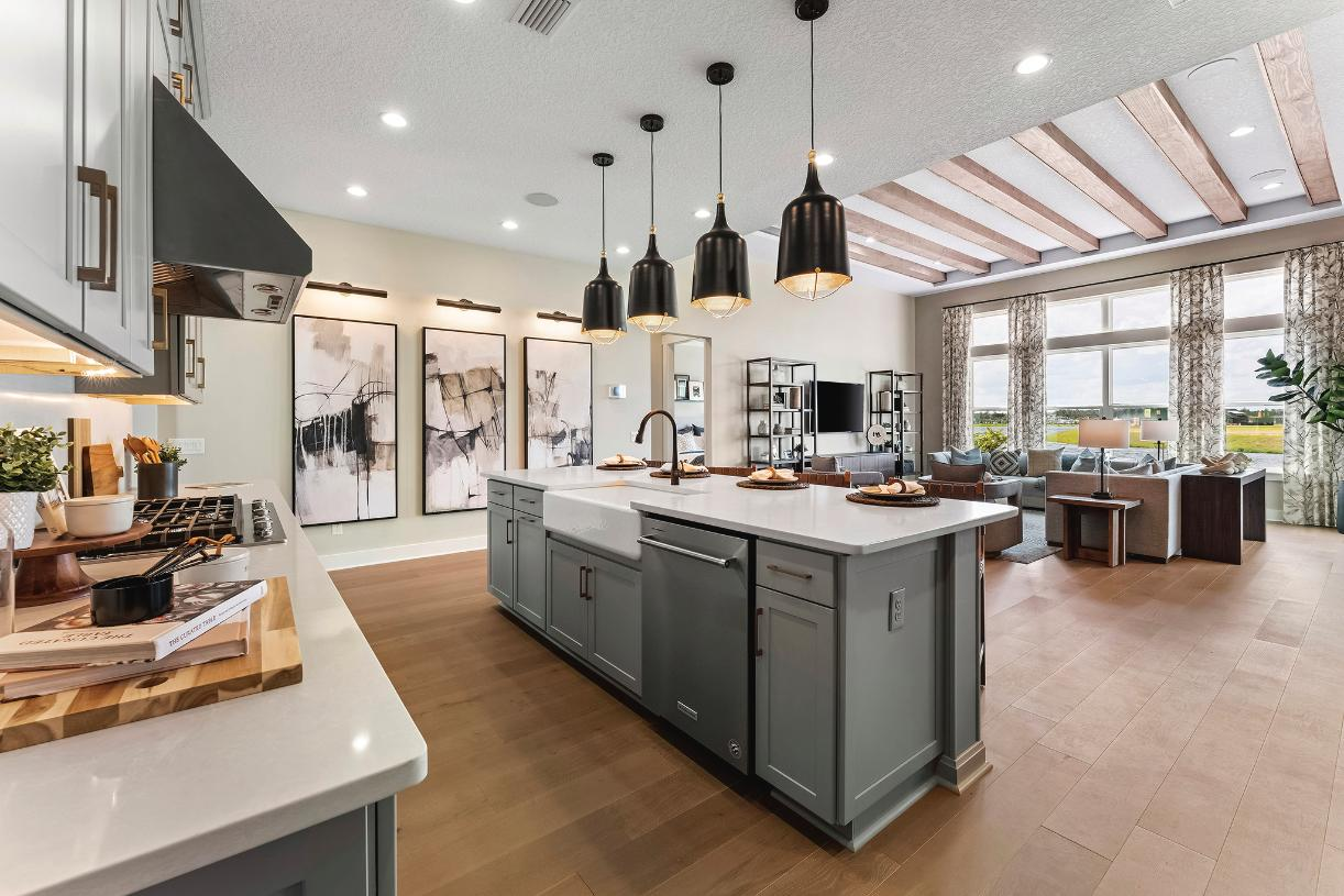 Spacious kitchens open to great rooms