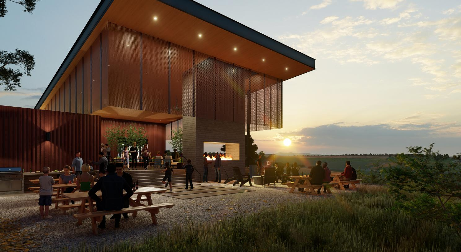 The Spoke Amenity Center outdoor seating and kitchen