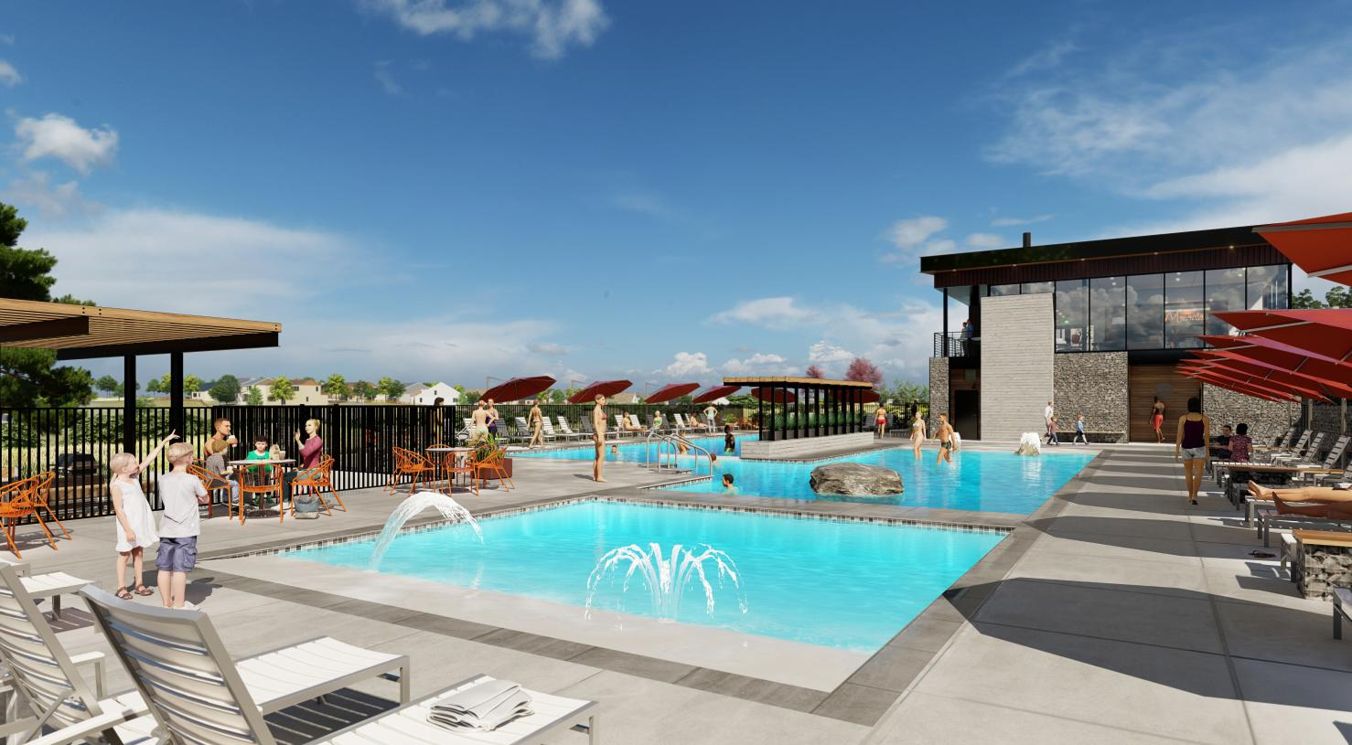The Spoke Amenity Center pool and water play area