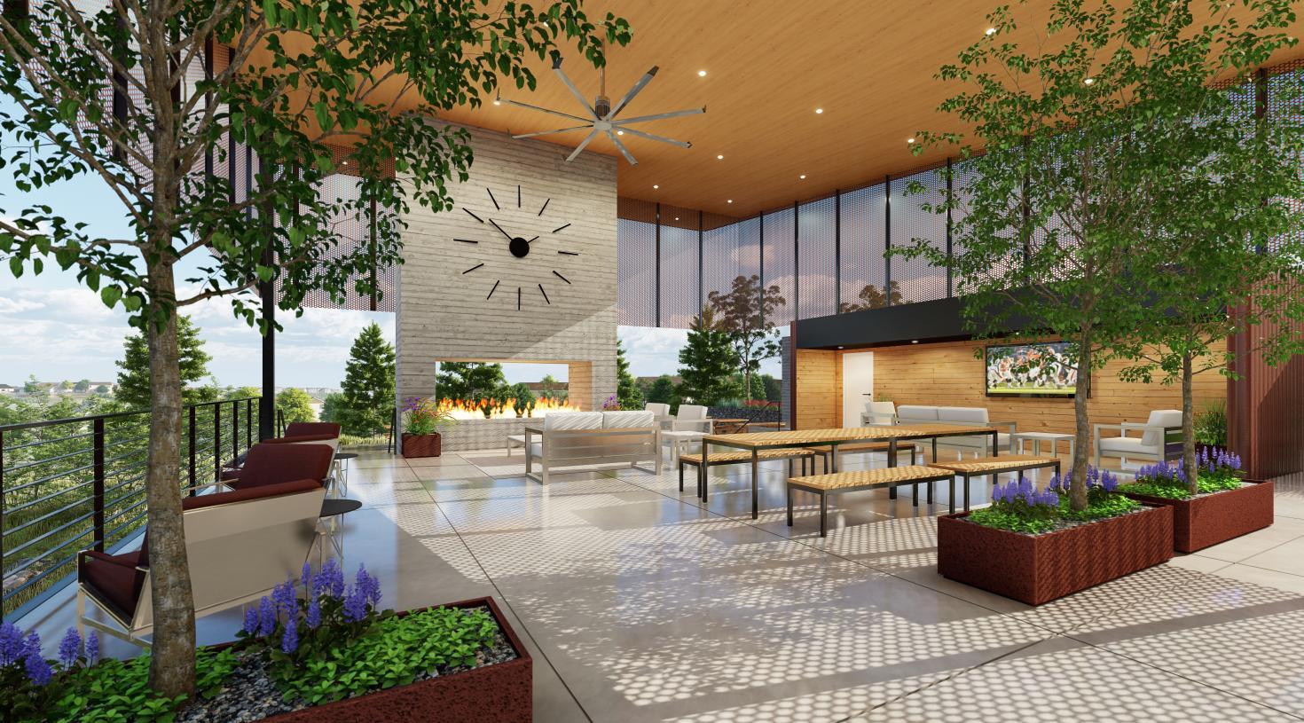 The Spoke Amenity Center outdoor lounge area