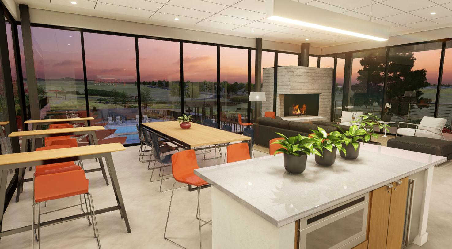 The Spoke Amenity Center lounge area with fireplace