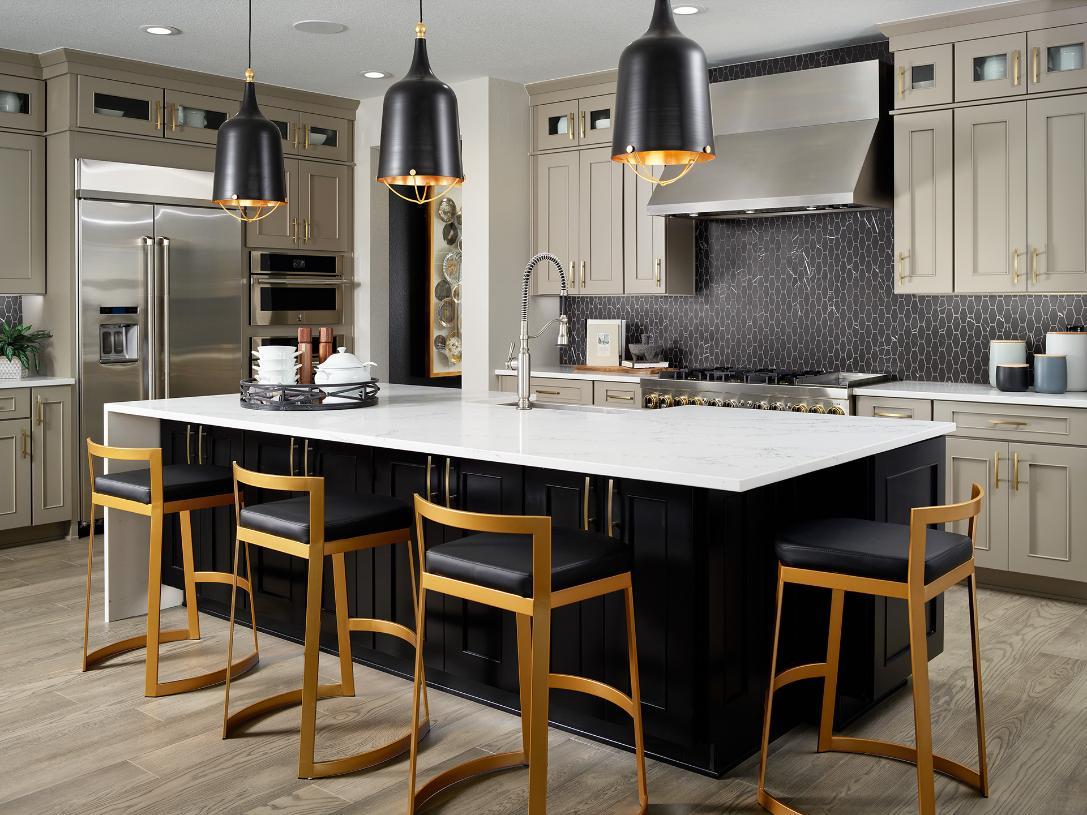 Shavano kitchen featuring island with seating for four