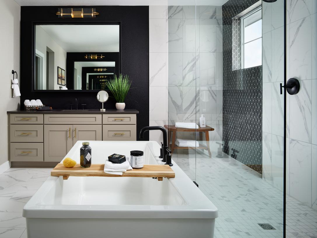 Shavano primary bathroom with dual vanity and spacious shower
