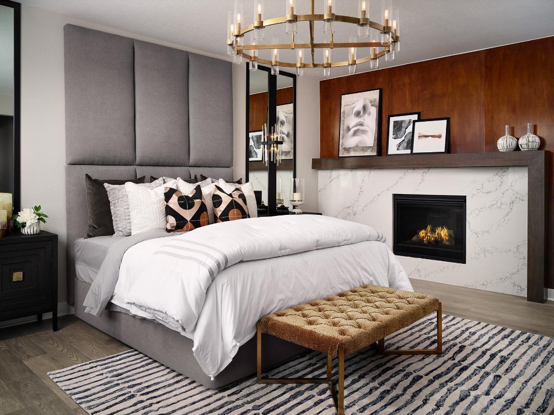 Shavano primary bedroom with fireplace