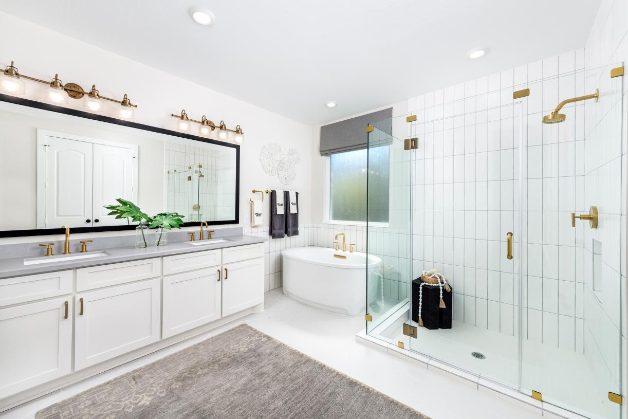 Primary bathroom with freestanding tub