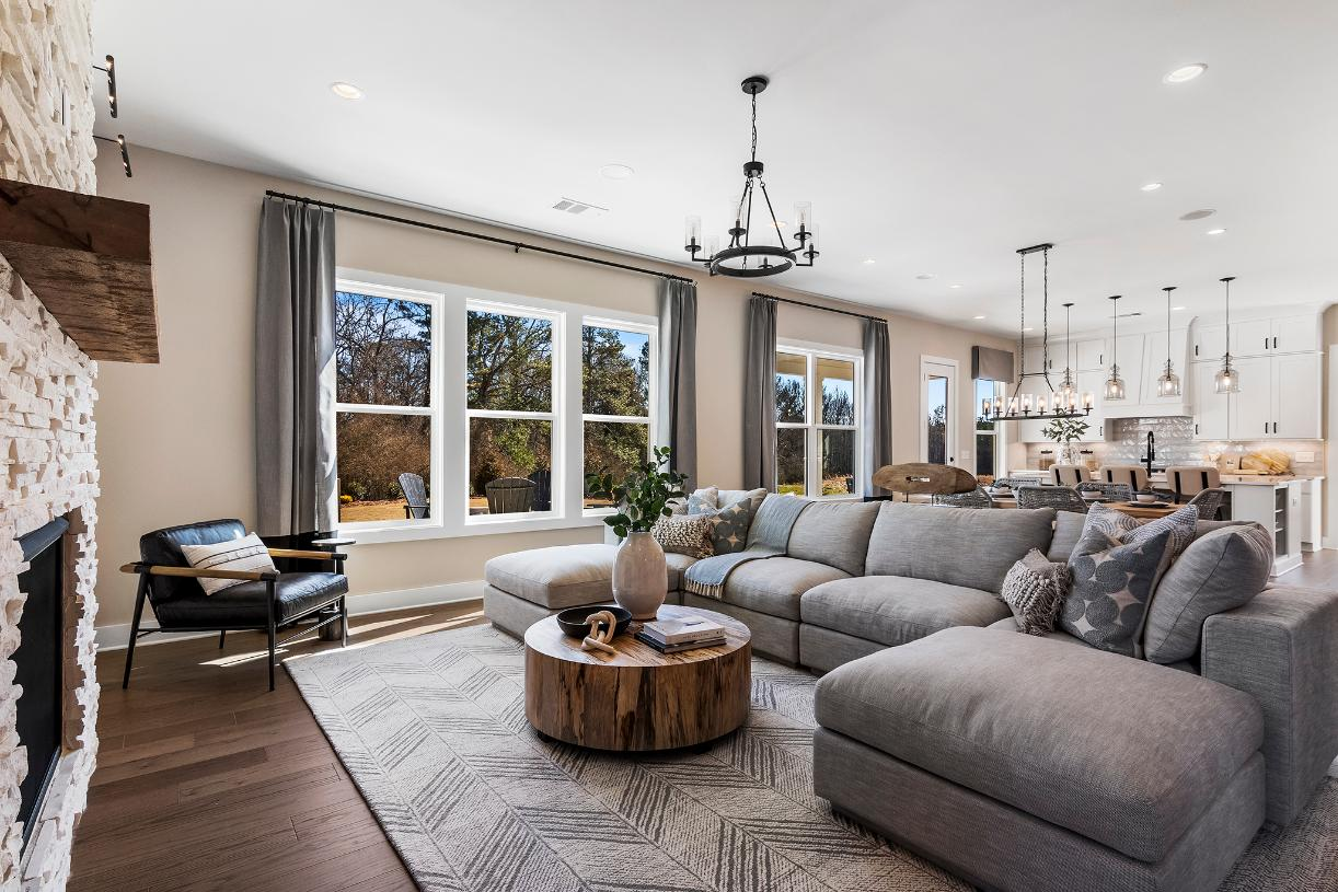 Bright, spacious great room opens to casual dining and kitchen areas