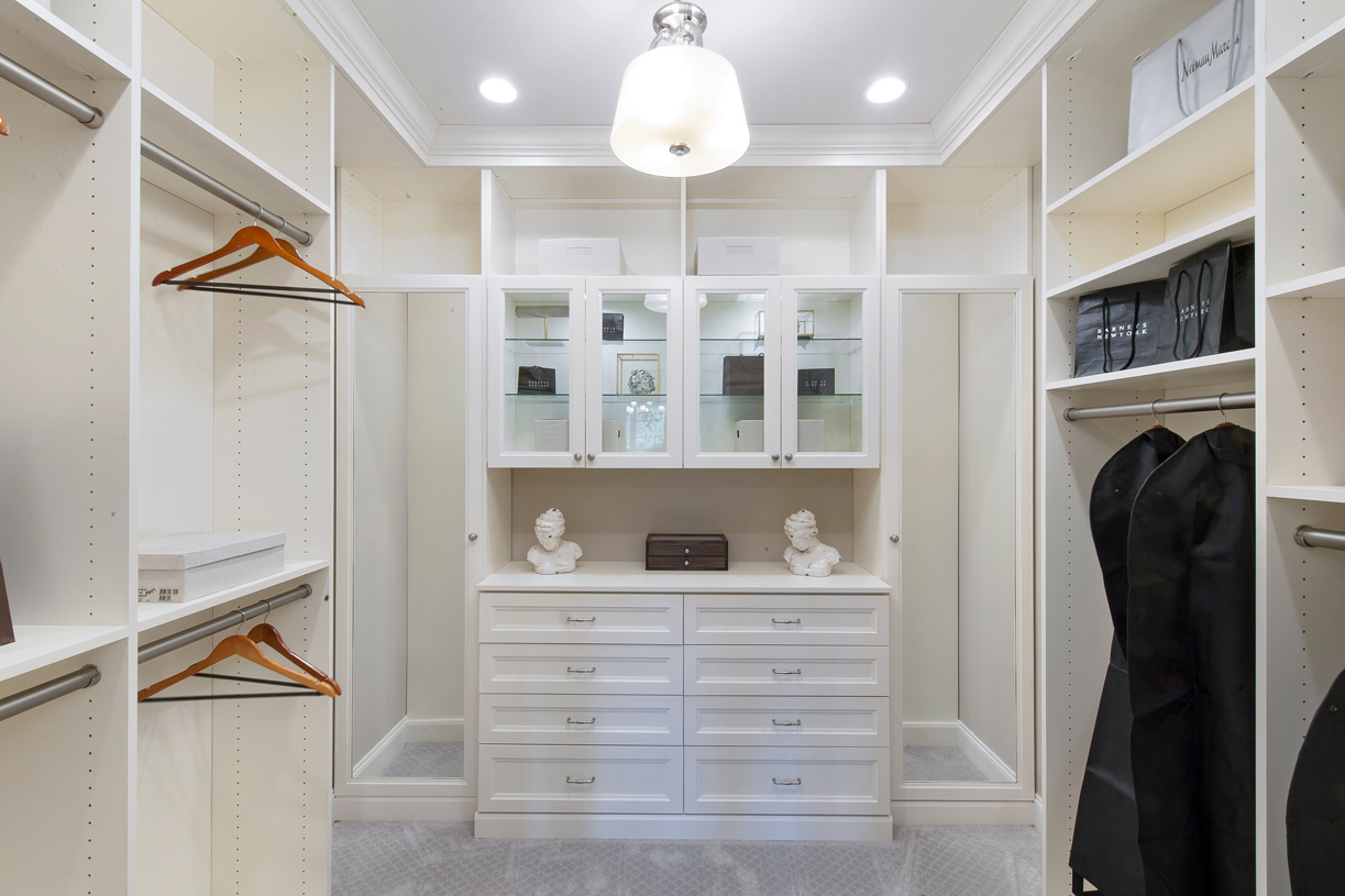 Primary bedrooms with large walk-in closets