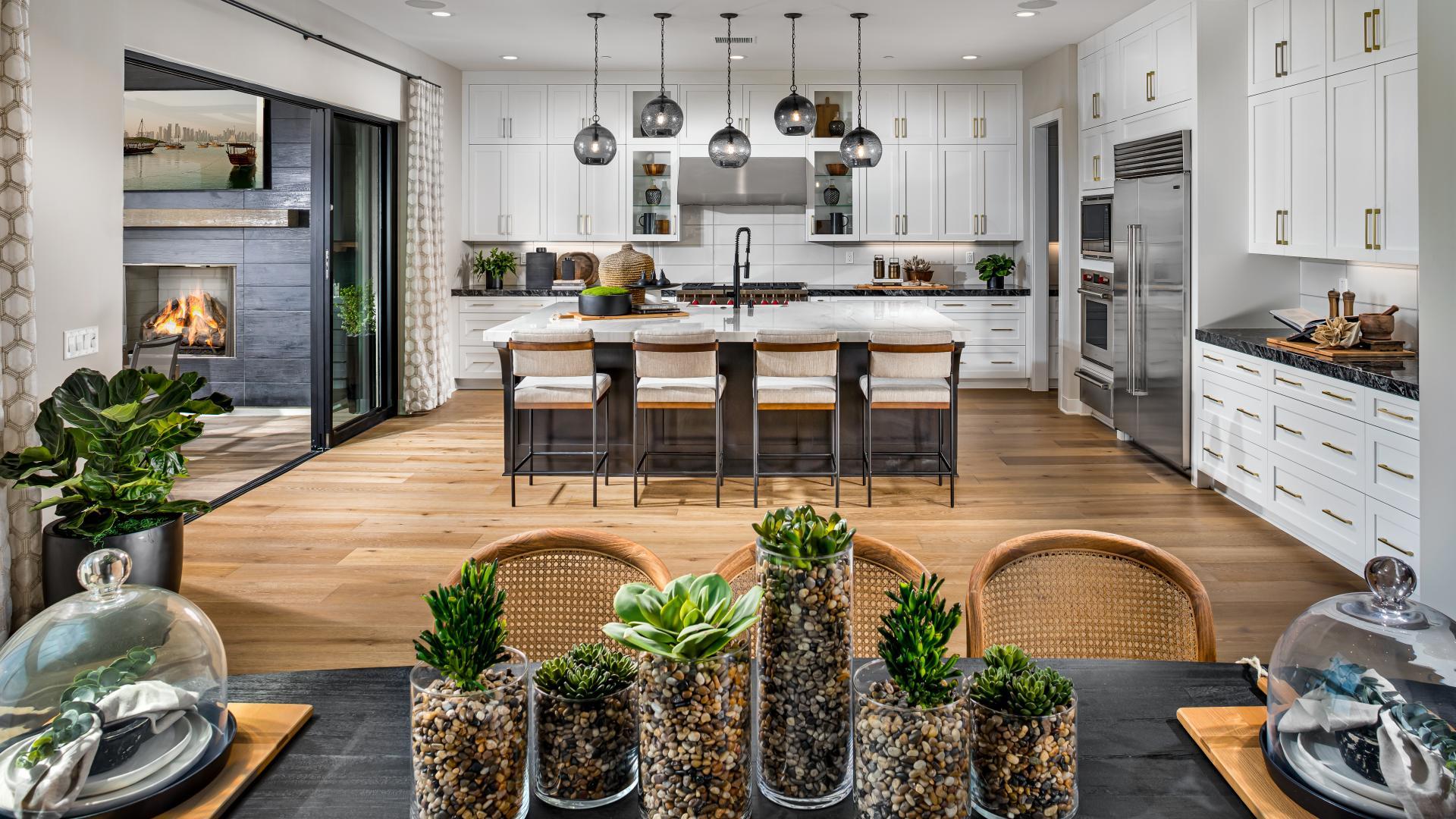 Open floor plan with soaring great rooms