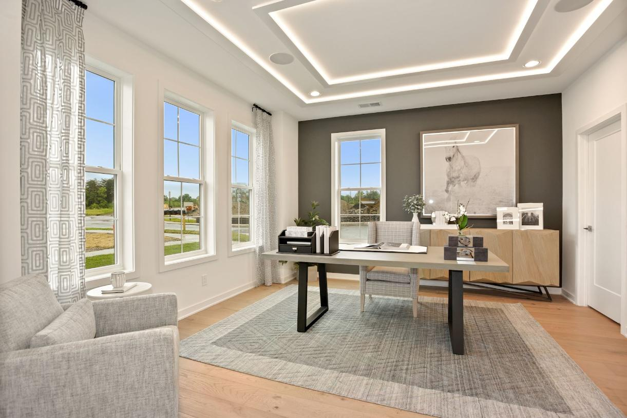 Entry level flex space perfect for a home office or guest bedroom