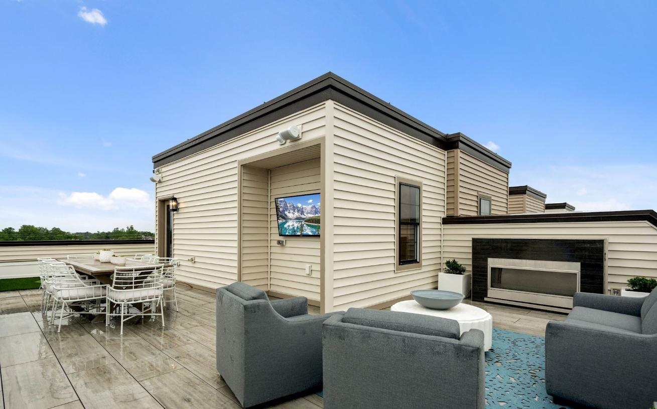 Rooftop terrace shown with optional fireplace