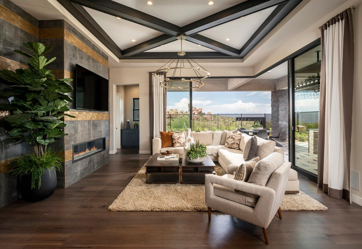 Expansive great room with 90-degree multi-slide door