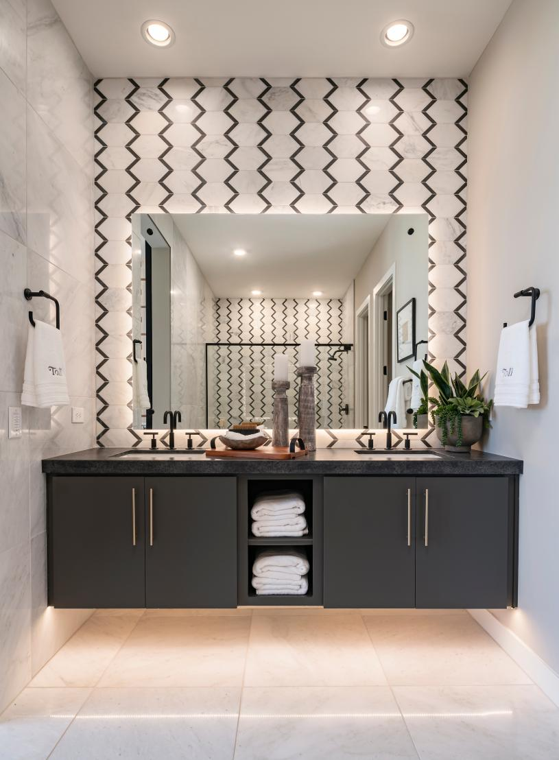 Luxe primary bath with dual-sink vanity