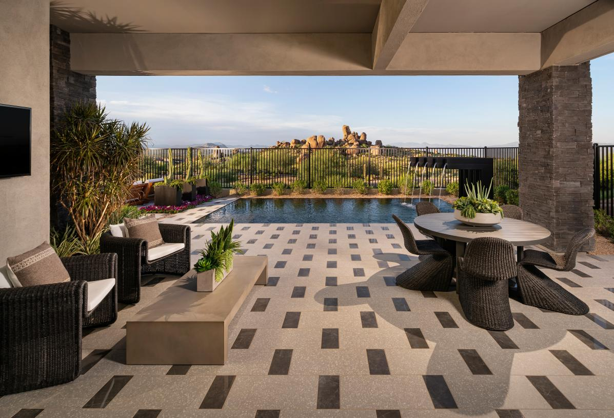 Oversized covered patio with panoramic mountain views