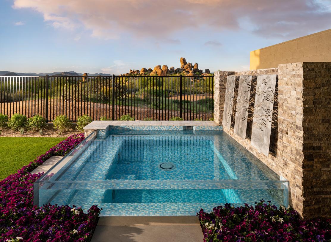 Beautiful resort-style backyard with mountain views