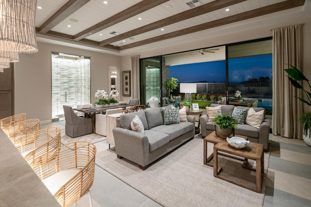 Great room and casual dining room feature an expansive 20' multi-slide door for seamless indoor-outdoor living