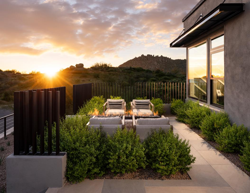 Welcoming outdoor living area with serene Sonoran Desert views