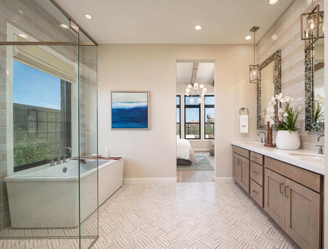 Spa-like primary bath with dual-sink vanity, large soaking tub, and oversized walk-in shower