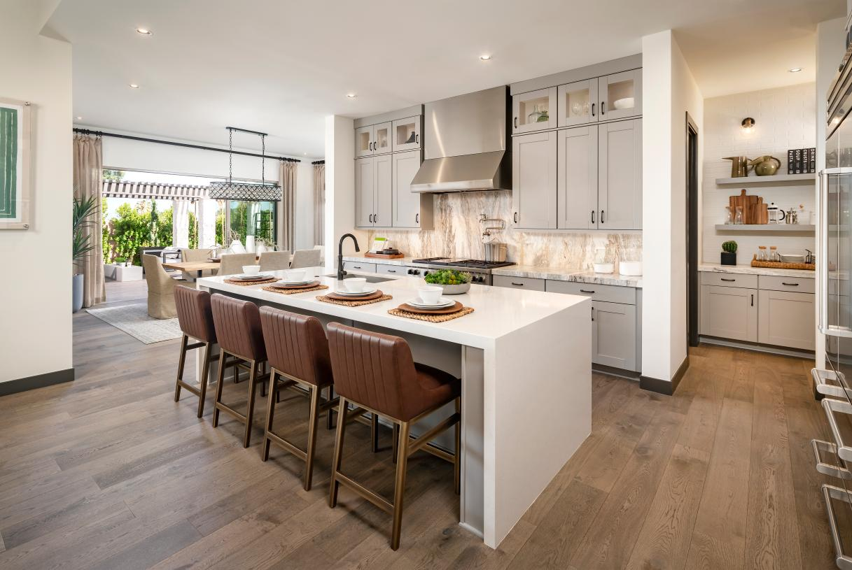 Gourmet kitchen with large center island and prep area