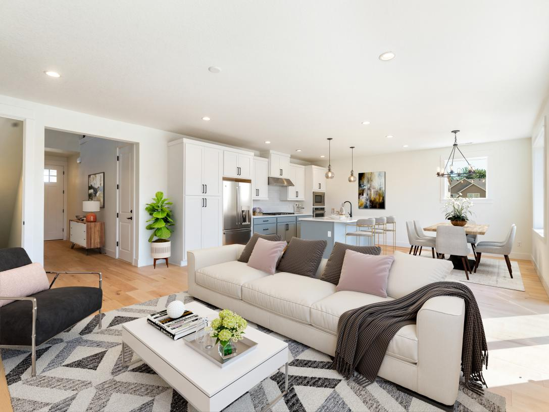 Bright, open-concept great room is ideal for entertaining