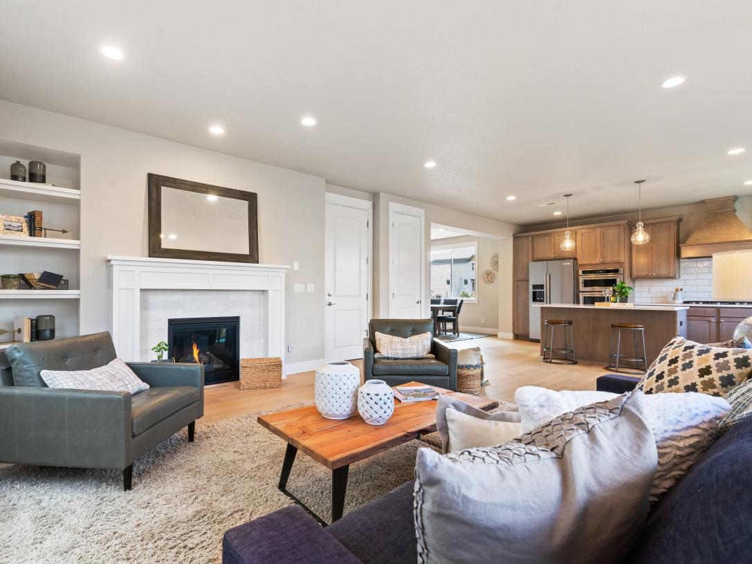 (Representative photo) Great room with cozy gas fireplace