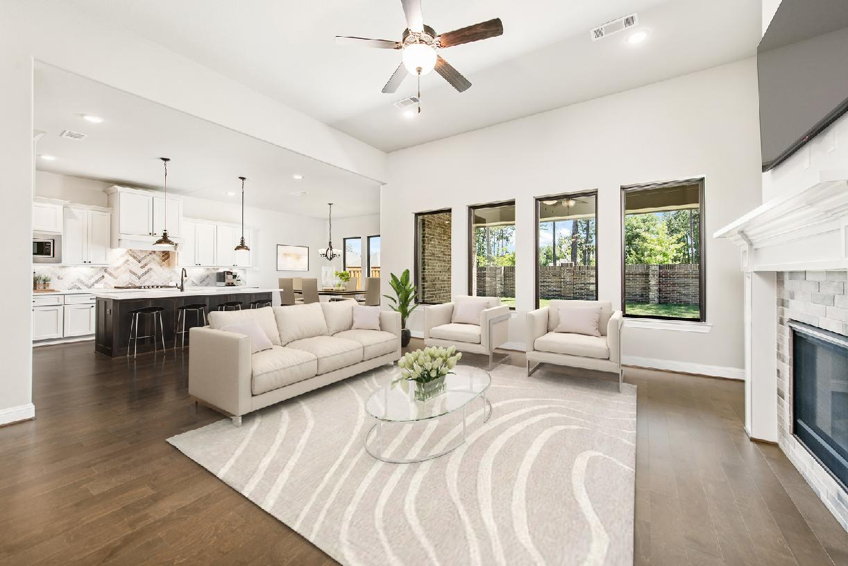 The open-concept design of the Westbury great room and kitchen