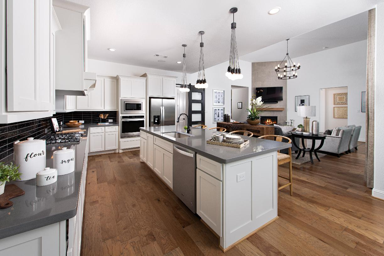 Seamless kitchen and living room areas of the Langdon