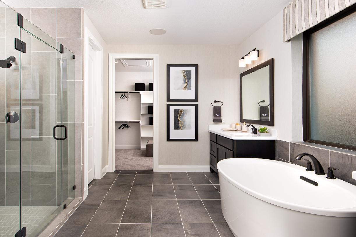 Primary bath of the Langdon with free-standing tub