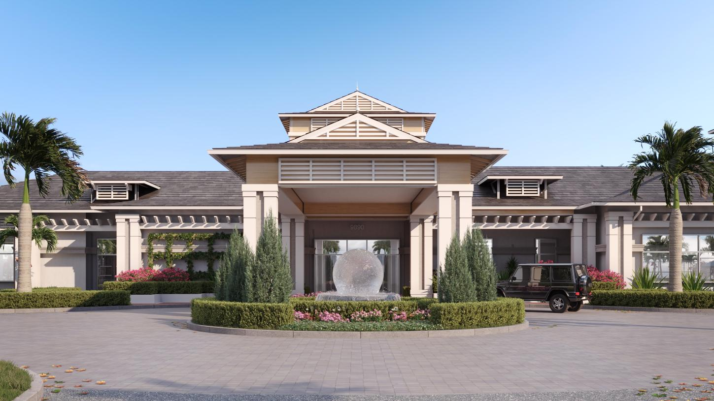 The elegant entry to The Pearl, the community's future amenity center