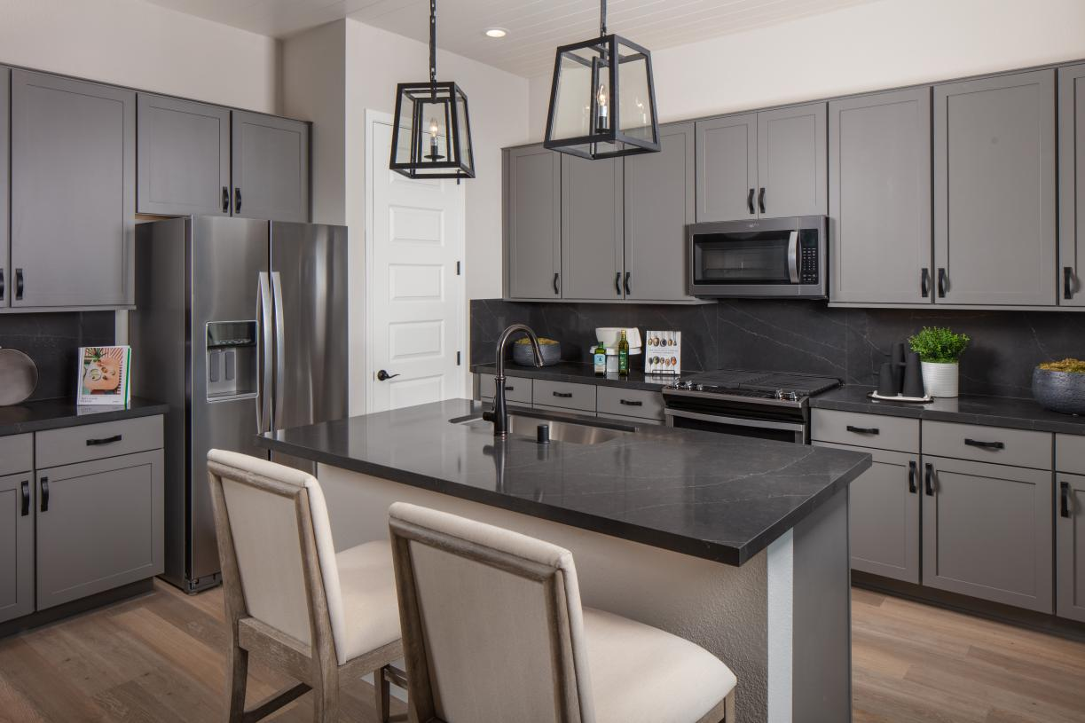 Gourmet kitchen with center island and pantry