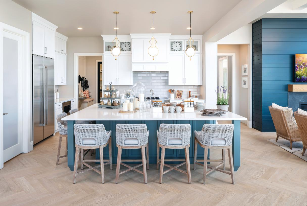 Large center islands with ample countertop and cabinet space