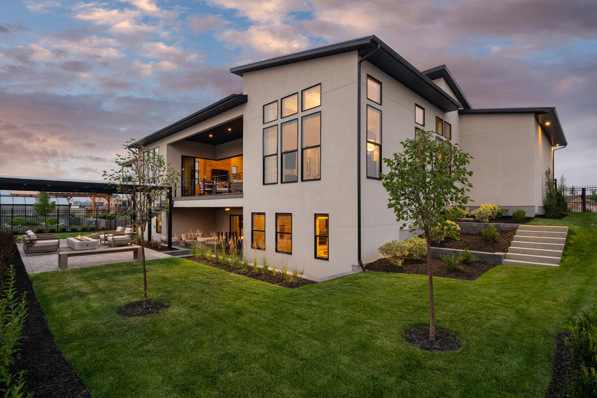 Beautifully landscaped backyard for outdoor living, dining, and entertaining