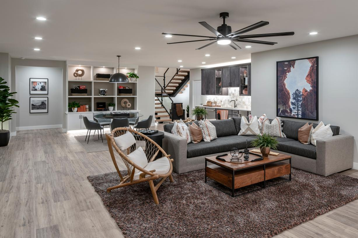 Spacious finished basement ideal for relaxing and entertaining